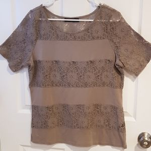Womens large cotton blend lacey moss green tee